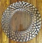 Vintage Clear Glass Serving Dish Tray Bubble Design Round Scalloped Edges