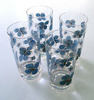 Mid Century, Blue Flower Clear Glass Tumblers with Gold Metallic Trim, Set of 4