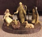 Vintage Made In Italy Plastic Nativity Scene w Base Creche Cream and Brown