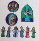 Vintage Stained Glass Christmas Ornament Lot of 9 Angels Nativity 3 Kings EC