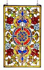Colorful Floral Medallion Tiffany Style Stained Cut Glass Window Panel 20 x 32