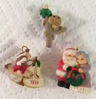 Hallmark Miniature Lot Of 3 1993 Mr. & Mrs. Clause Bird Bear In Tree Ornaments