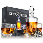 Premium Glass Decanter Set with 4 Glasses with 9 Cooling Whisky Stones