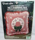 Vintage Christmas Pillow Net Darning Kit Wreath Pillow 14 x 14 Vogart Crafts