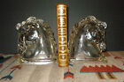 Vintage Art Deco Federal Glass Clear Glass Hollow Horse Head Figurine Bookends