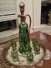 Green Czech Bohemian glass decanter and glasses 6 Drinkware Antique