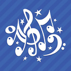 Music Notes and Stars Vinyl Decal Sticker