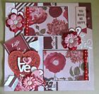 Premade 12x12 Scrapbook Layout Page Handmade 3D Valentines Day You Make Me Happy