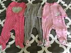 Girls Size 9 Month Infant Carters Sleeper Pajamas Lot Cat Flowers Heart