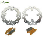 For Kawasaki KX250F KX450F 06-15 KLX450R 08-14 Front Rear Brake Discs Rotors Pad