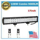 108W 17 LED Spot Flood Combo Light Bar fits Jeep Wrangler YJ Trailer Boat 18W