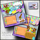 EASTER BASKET 2 premade scrapbook pages paper piecing layout 12X12 CHERRY 0059