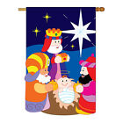 Three Kings Winter Nativity Applique Garden Yard Banner House Flag
