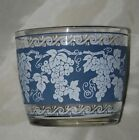 Vintage Hazel Atlas Glass Ice Bucket Retro Mod Grape Leaves Silver Trim Blue Wht