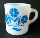 Vintage Hazel Atlas Milk Glass Blue Cornflower Mug or Coffee Cup
