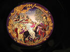 VINTAGE STAINED GLASS  PEWTER PLATE US HISTORICAL SOCIETY w ART GLOW LIGHT