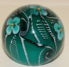 Grant Randolph Studio Beautiful Aqua Teal Paperweight with Scrolls and Flowers