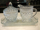 Anchor Hocking WEXFORD Glass Cream Pitcher~Sugar Bowl w/ Lid~Tray Set Perfect
