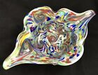 Huge Fratelli Toso Apparenza Rainbow Swirl Starry Night Pulled Bowl Label 16