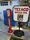 Rare Vintage TEXACO GASOLINE PORCELAIN DOUBLE SIDED CURB SIGN With Stand