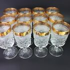 12 Set Vintage Anchor Hocking Wexford Gold Rim Crystal Water Goblets 6 5/8