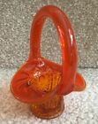 Fenton Orange Amberina Miniature Hobstar Basket with Orange Handle FREE SHIP