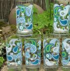 5 Vintage Retro 70's Crisa Blue Floral Paisley Print Glasses Tumblers High Ball