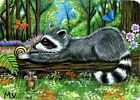 Raccoon Mouse Snail Forest Friends Flowers Summer ACEO Print from Original