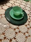 Fire King Jadite Jadeite Jane Ray Tea Cup And Saucer green with ridges