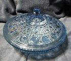 L E Smith Blue Glass Covered Candy Dish, 7