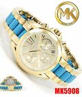 new women's MICHAEL KORS MK5908 Bradshaw Gold Tone Steel & Blue Acetate WATCH