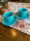 Homer Laughlin Fiestaware Turquoise Cup And Saucer Set X2