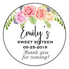 Sweet 16 Thank you Tags Stickers floral16th birthday label sticker 25inch