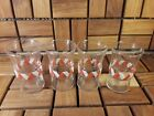 Vintage Set - 4 Libbey Glass Small Juice Glasses - Retro Kitchen Striple Design