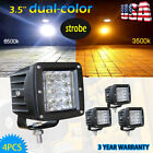 4pcs 48W 3x3 LED Work Light Flush Mount Pods White Amber Strobe Dual Color Flash