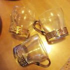 Vintage Libbey Greek Key Mugs, Clear Glass and Brass Tea Cups, Mid Century Glass