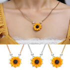 Fashion Charm Sunflower Pendant Women Pearls Drop Necklaces Chain Jewelry Gifts