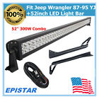 Fits 87 95 Jeep Wrangler YJ Windshield Bracket+52300W LED Light Bar Combo Wire