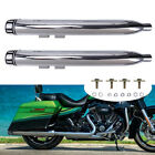 Chrome 35 Slip On Muffler Exhaust Pipes For Harley Touring Glide FLH 1995 2016