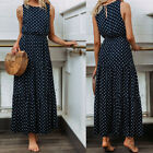 US Womens Boho Sleeveless Dress Beach Holiday Maxi Long Dresses Summer Sundress