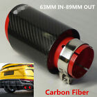 Real Carbon Fiber Sport Style Glossy Black+Red Car Exhaust Muffler Tip 63mm 89mm