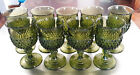 Vintage Olive Green Diamond Point Water Goblet 6.5
