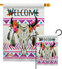 Bohemian Bull Skull Southwest Boho Native Nutural Element Garden House Yard Flag