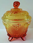 Jeannette Amberina Red Yellow Glass Candy Jar Bowl Acorn Knob Ivy