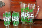 Vintage 1950's 1960's Juice Pitcher and 4 Juice Glasses Set - Green