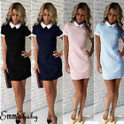 Women Short Sleeve White Collar Skater Block Shift Dress Summer T-shirt Dress US