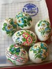 ViNTAGE Lot of 6 Hand Painted REAL BLOWN EASTER EGGS Collectible Ornament