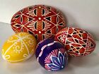 ViNTAGE Lot of 3 Hand Painted REAL BLOWN EASTER EGGS Collectible Ornament