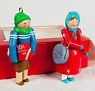 Vintage Hallmark 1989 Son & Daughter Set Wooden Ornaments Handcrafted with box