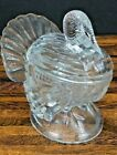 Vintage L.E. SMITH Heritage Clear Glass Covered Turkey Candy Nut Dish Compote